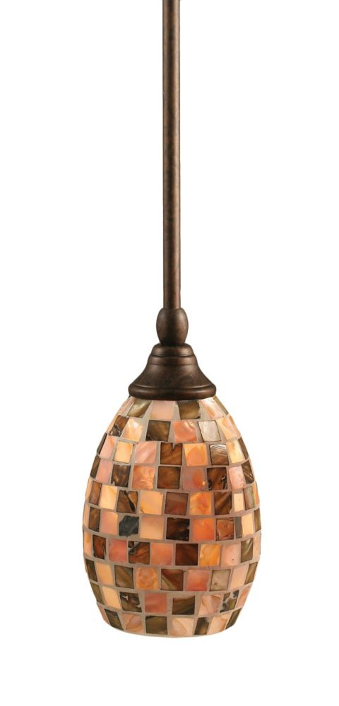Concord 1-Light Ceiling Bronze Pendant with a Seashell Glass