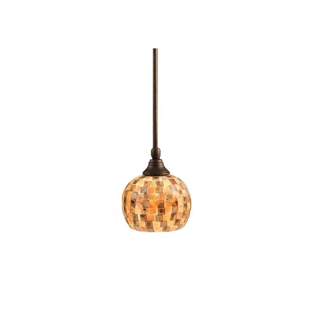 Concord 1 lumière au plafond Bronze Pendeloque incandescence d'un verre de Seashell