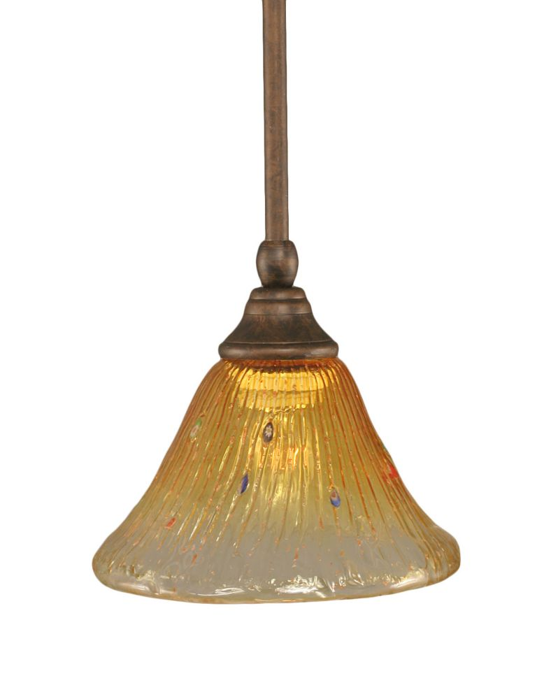 Concord 1 Light Ceiling Bronze Incandescent Pendant with a Gold Champagne Crystal Glass
