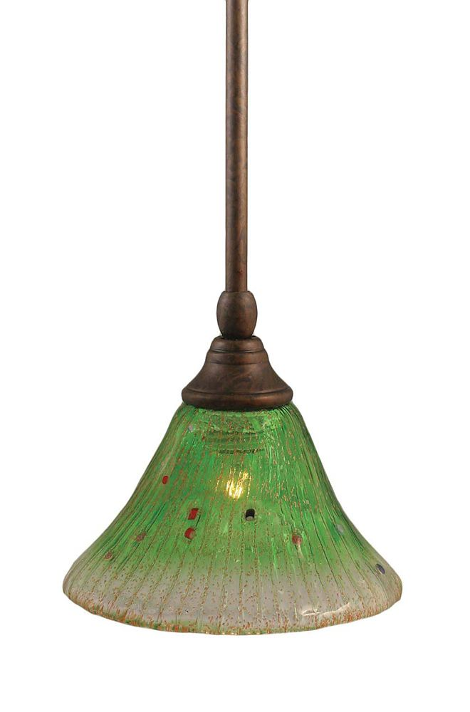Concord 1 Light Ceiling Bronze Incandescent Pendant with a Green Crystal Glass