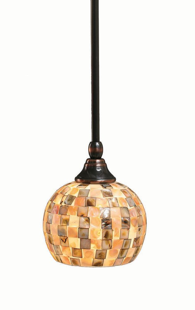 Concord 1-Light Ceiling Black Copper Pendant with a Seashell Glass