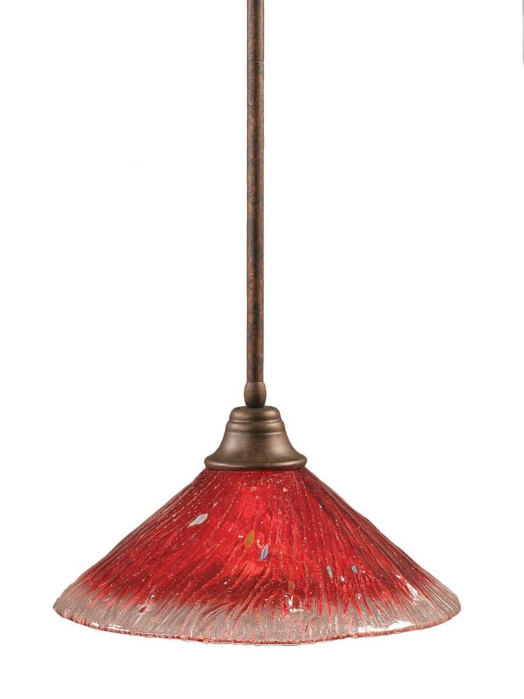 Concord 1-Light Ceiling Bronze Pendant with a Raspberry Crystal Glass