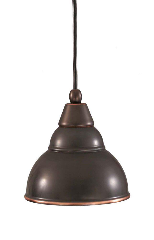 Concord 1 lumière au plafond Noir Copper Compact Fluorescent Pendeloque-éclairage avec un verre b...