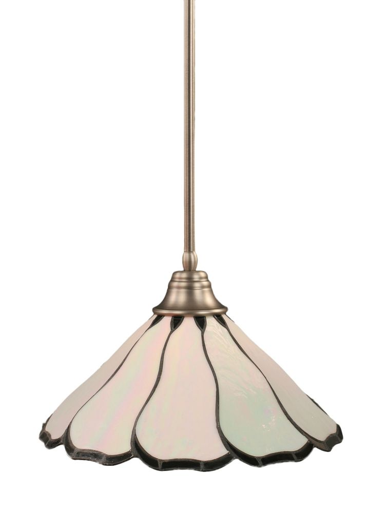 Concord 1-Light Ceiling Brushed Nickel Pendant with a Pearl Flair Tiffany Glass