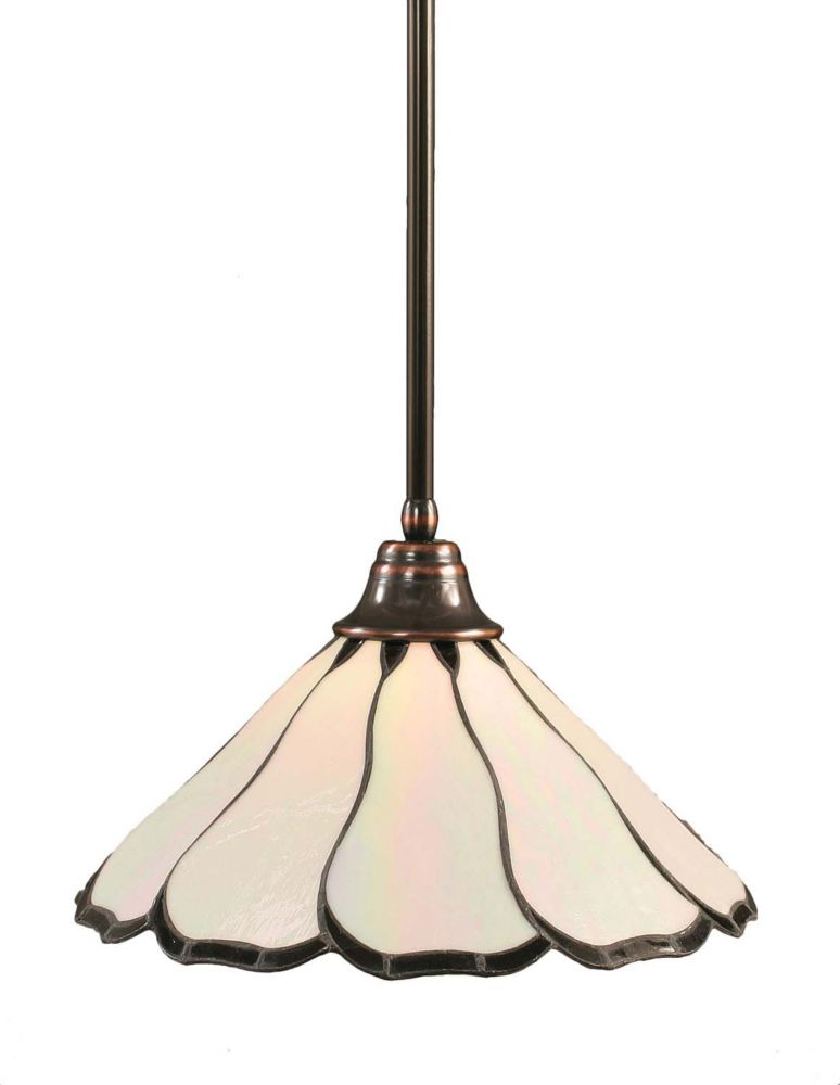 Concord 1-Light Ceiling Black Copper Pendant with a Pearl Flair Tiffany Glass