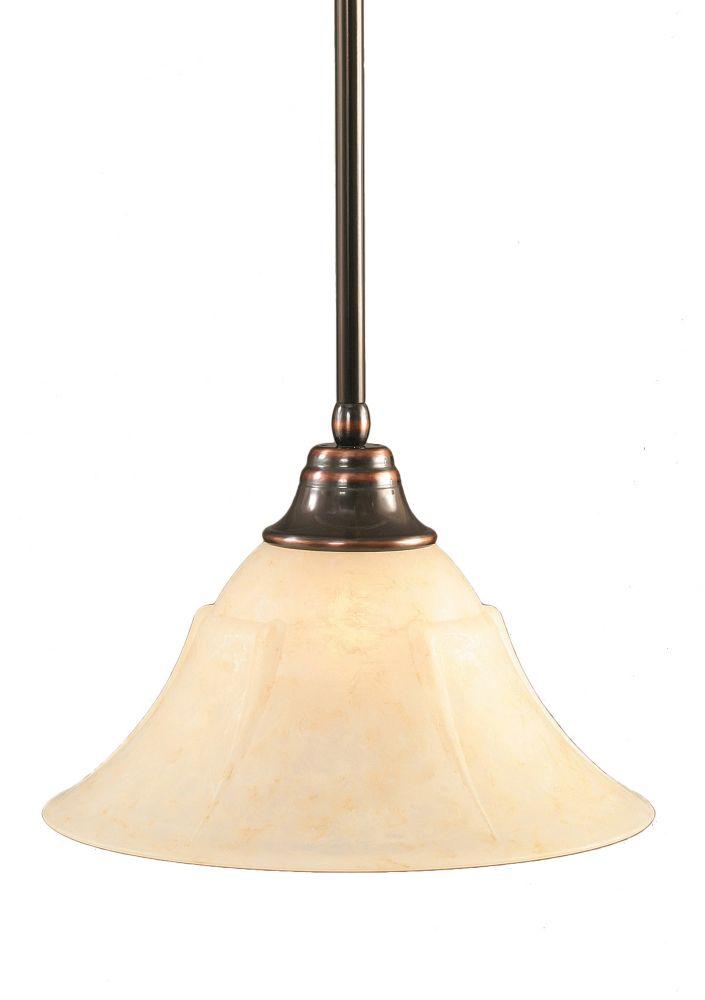 Concord 1 lumière au plafond Noir Copper Pendeloque incandescence par un verre ambre