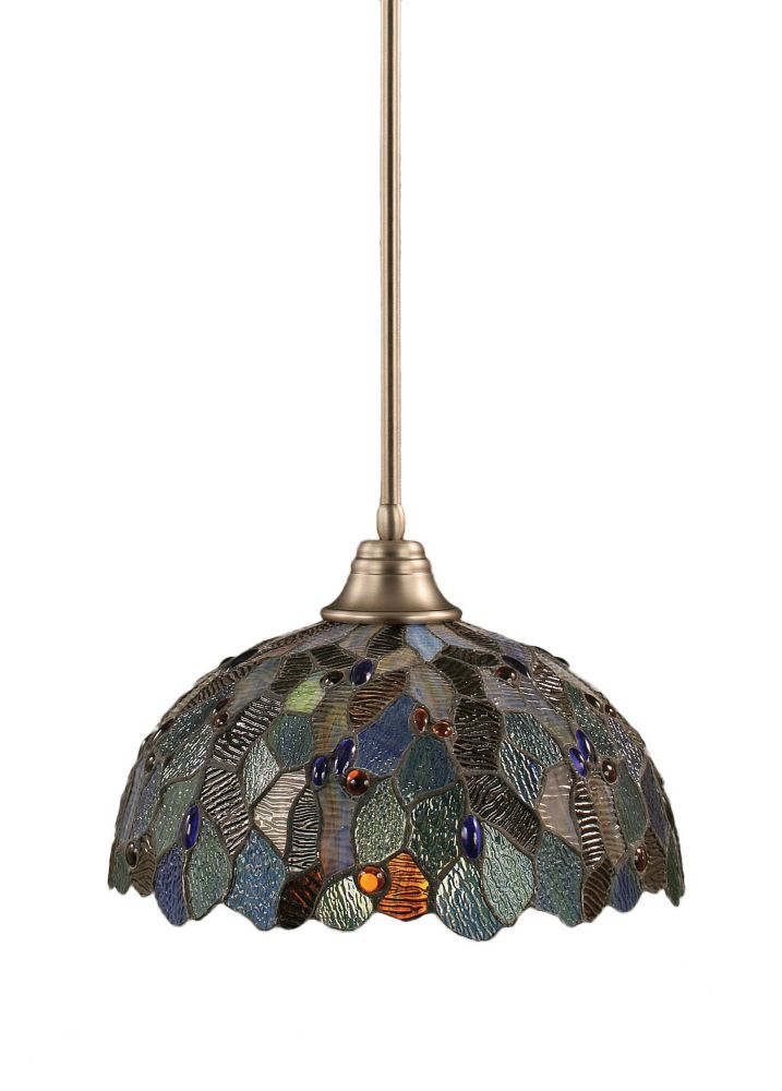 Concord 1 Light Ceiling Brushed Nickel Incandescent Pendant with a Blue Mosaic Tiffany Glass