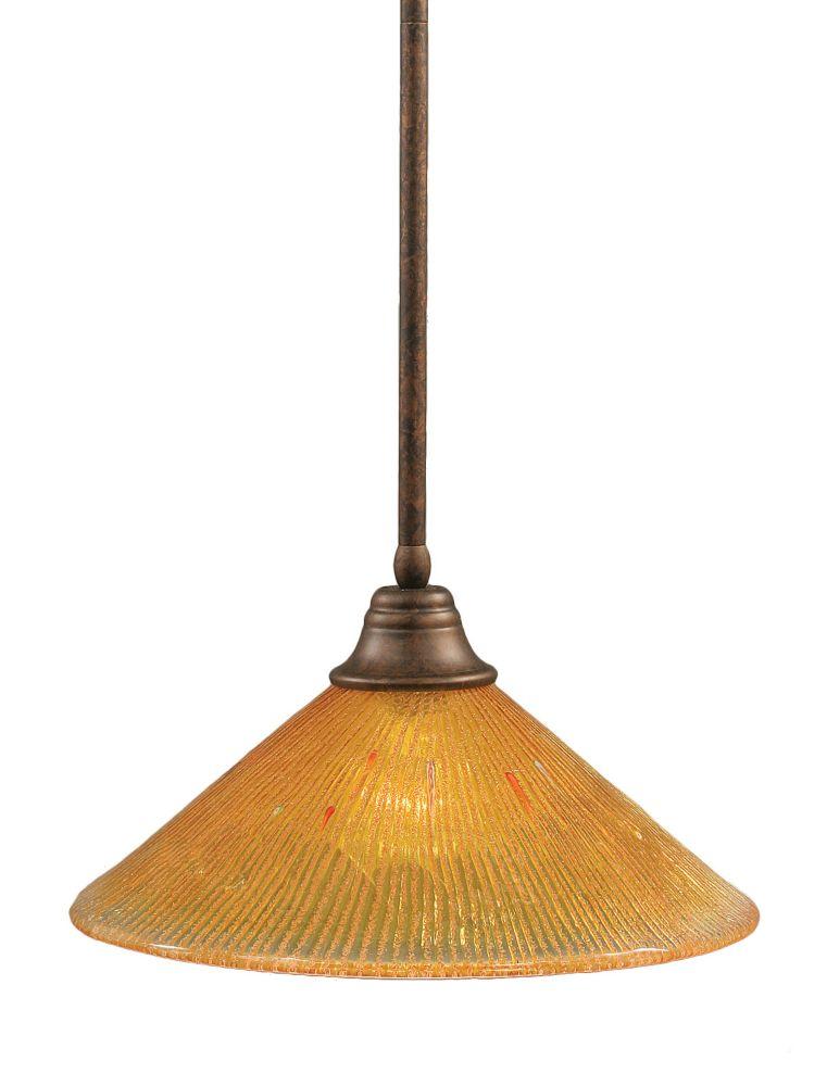 Concord 1 lumière au plafond Bronze Pendeloque à incandescence avec de l'or Champagne Cristal