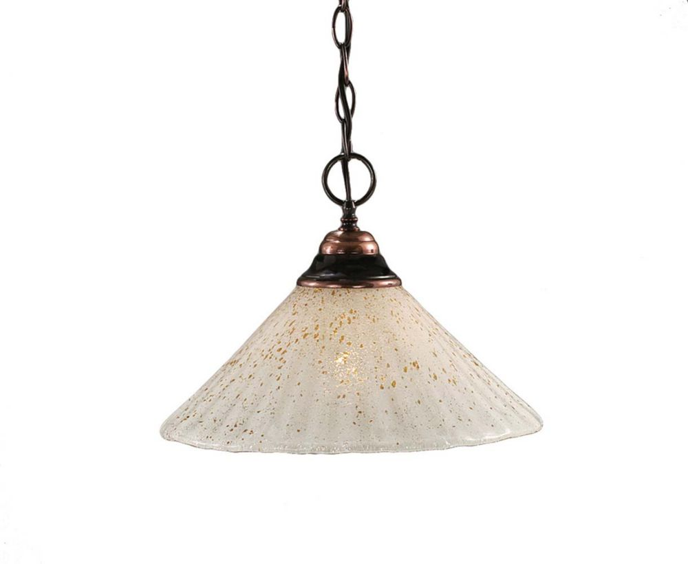 Concord 1 Light Ceiling Black Copper Incandescent Pendant with a Gold Crystal Glass