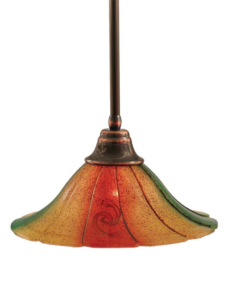 Concord 1 Light Ceiling Black Copper Incandescent Pendant with a Mardi Gras Glass