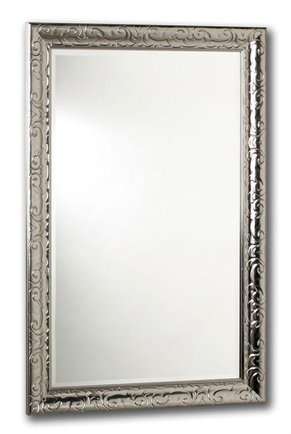 Miroir Razzle Dazzle, gris métallique laqué, 18 po x 30 po.
