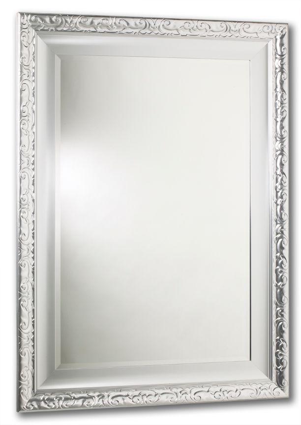 Miroir Razzle Dazzle, argent laqué, cadre double, 24 po x 26 po.