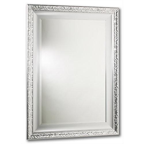 Razzle Dazzle Mirror, Double Frame, Lacquered Silver 18 Inch X 30 Inch
