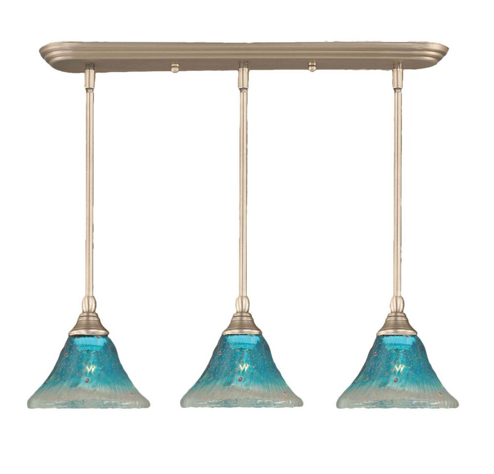Concord 3-Light Ceiling Brushed Nickel Pendant with a Teal Crystal Glass