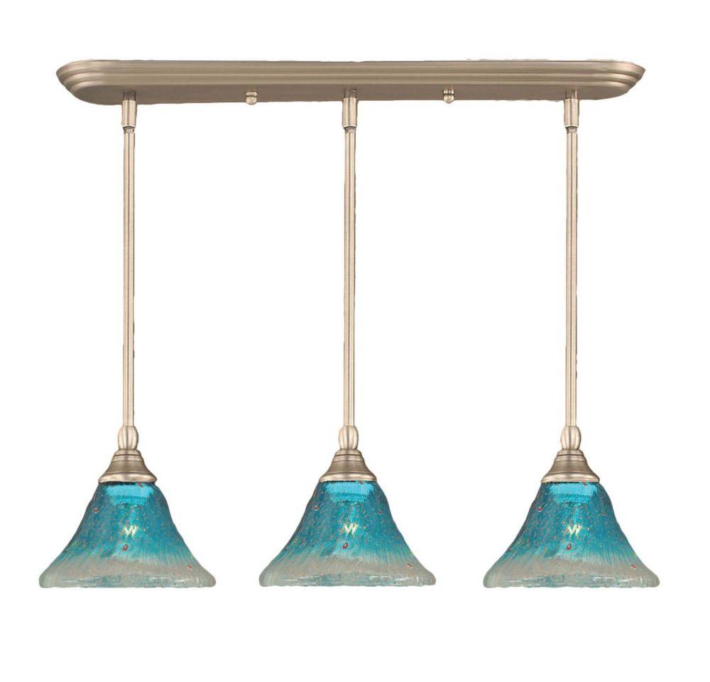 Concord plafond 3 lumières, nickel brossé Pendeloque à incandescence avec un cristal de verre Tea...