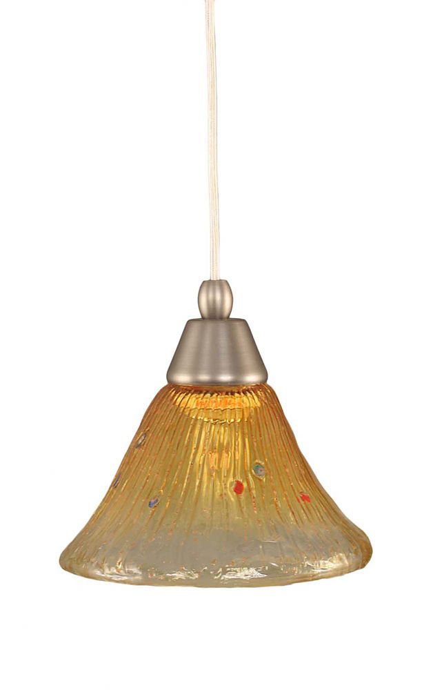 Concord 1-Light Ceiling Brushed Nickel Pendant with a Gold Champagne Crystal Glass