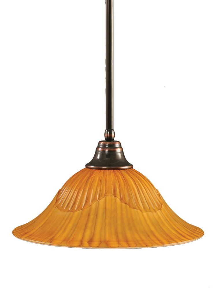 Concord 1-Light Ceiling Black Copper Pendant with a Tiger Glass