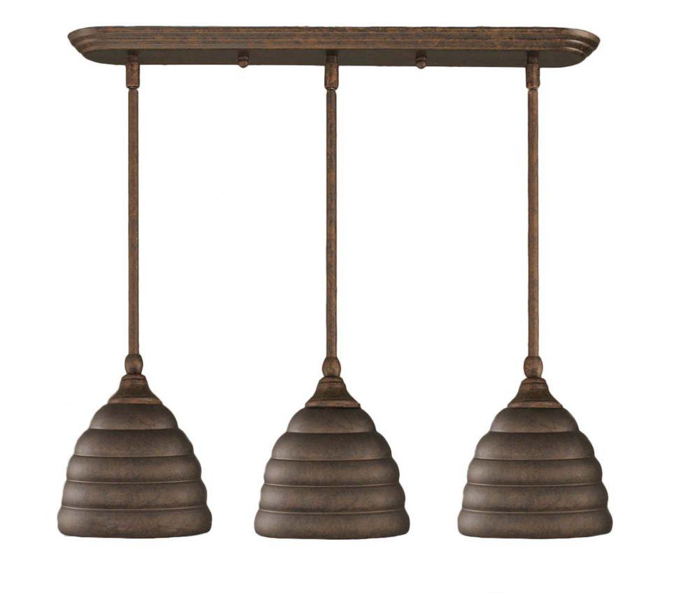 Concord 3 lumières plafond Noir Copper Pendeloque à incandescence avec un verre Bronze