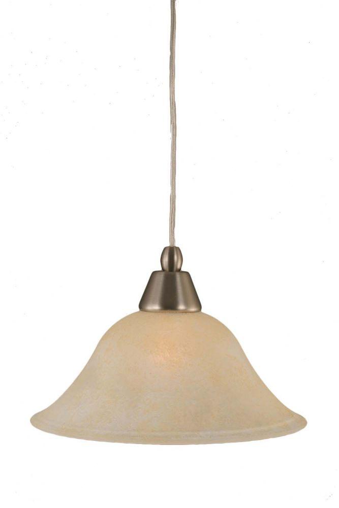 Concord plafond à 1 lumière, nickel brossé Pendeloque incandescence par un verre ambre