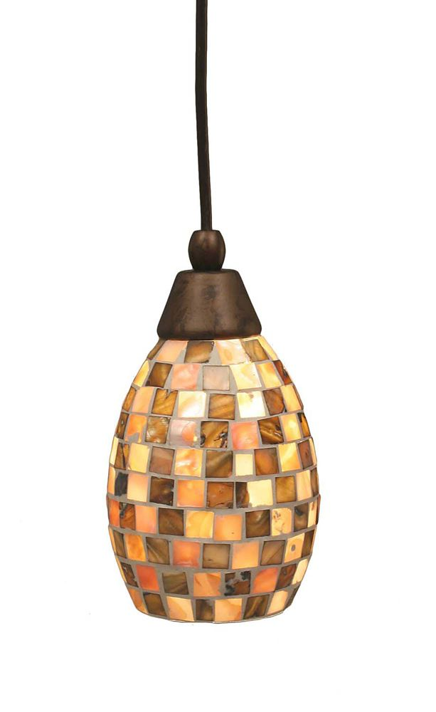 Concord 1 Light Ceiling Bronze Incandescent Pendant with a Seashell Glass