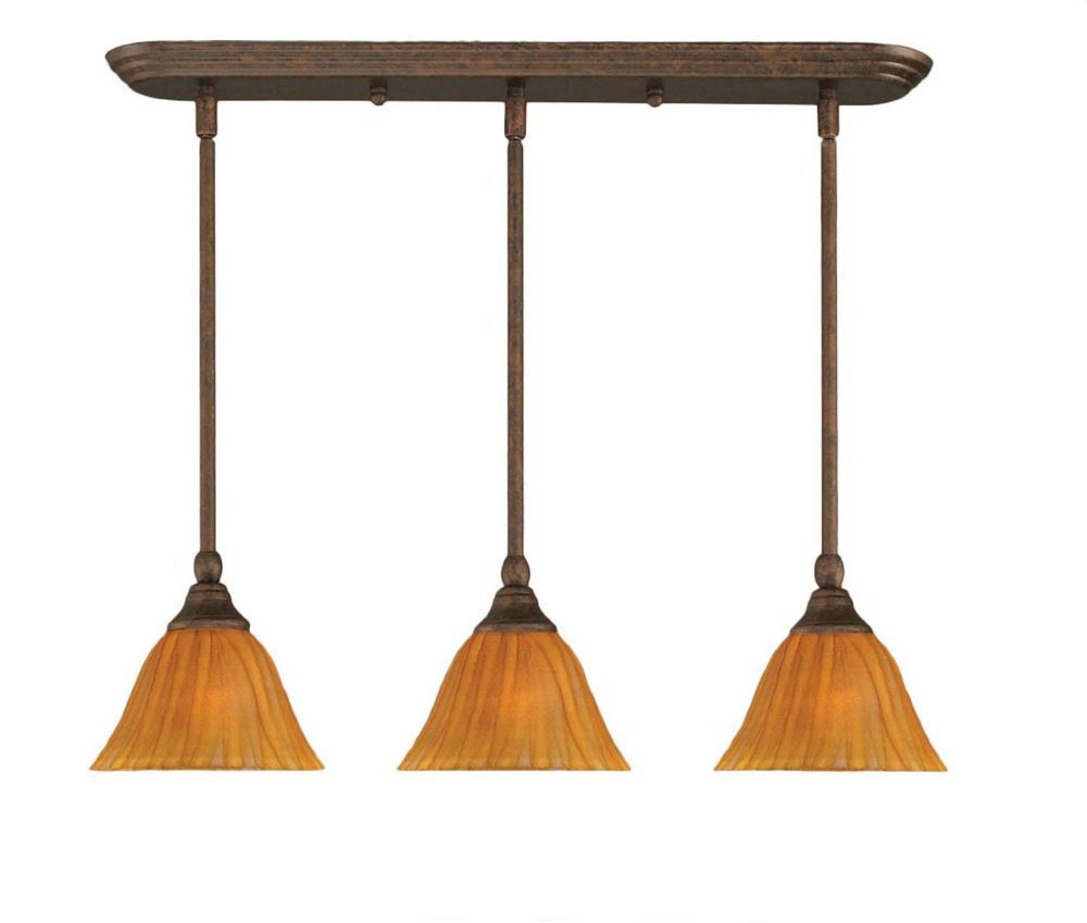 Concord 3 lumières plafond Noir Copper Pendeloque incandescence par une Tiger