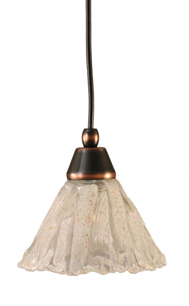 Concord 1 Light Ceiling Black Copper Incandescent Pendant with a Clear Crystal Glass