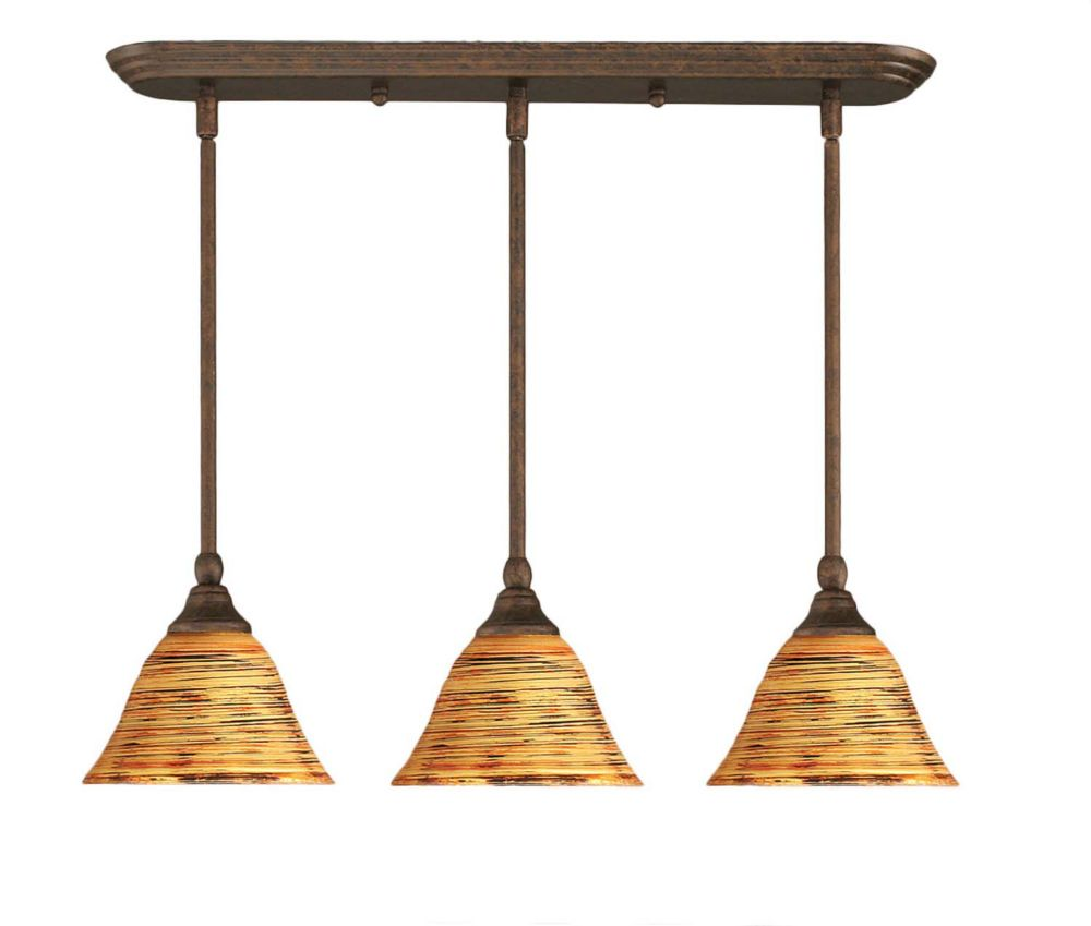 Concord 3-Light Ceiling Bronze Pendant with a Charcoal Spiral Glass