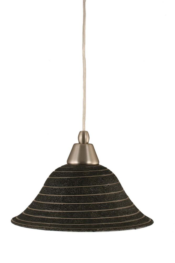 Concord 1-Light Ceiling Brushed Nickel Pendant with a Charcoal Spiral Glass