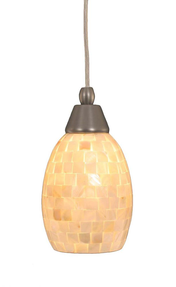 Concord plafond à 1 lumière, nickel brossé Pendeloque incandescence d'un verre de Seashell