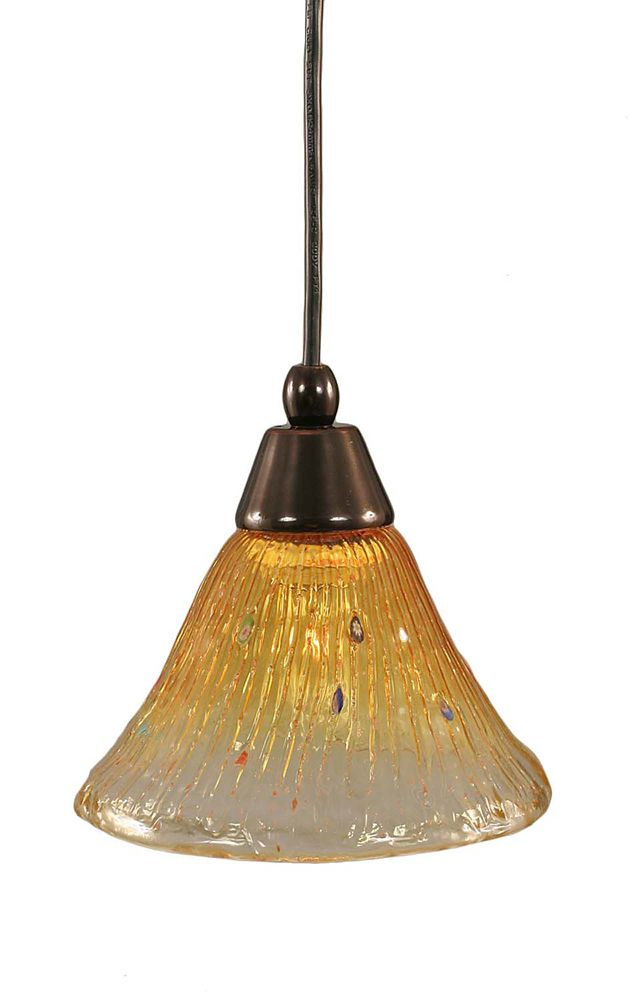 Concord 1-Light Ceiling Black Copper Pendant with a Gold Champagne Crystal Glass