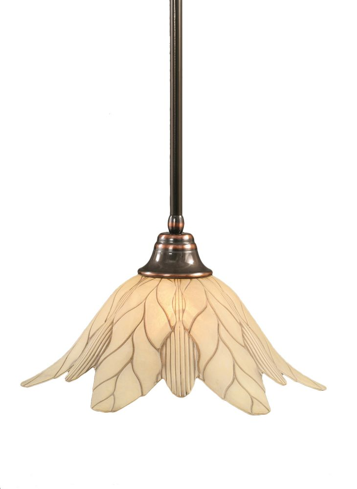 Concord 1-Light Ceiling Black Copper Pendant with a Vanilla Leaf Glass
