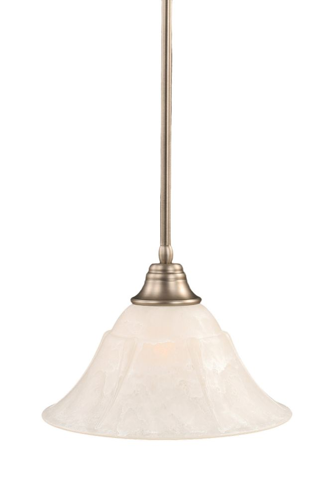 Concord 1-Light Ceiling Brushed Nickel Pendant with a White Marble Glass