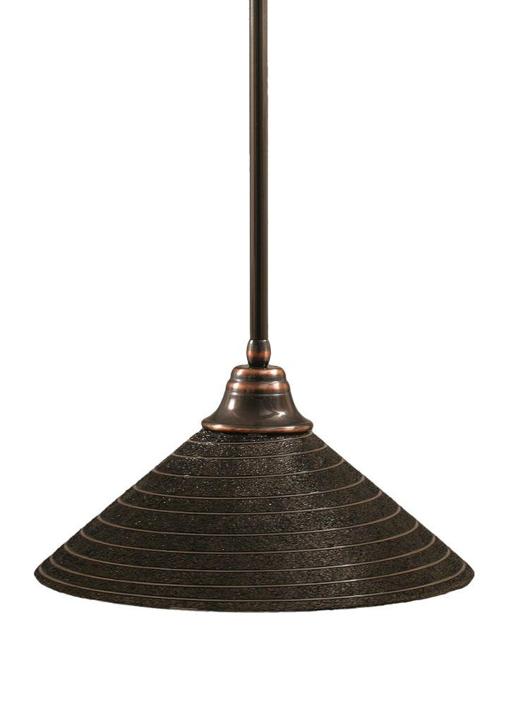 Concord 1 lumière au plafond Noir Copper Pendeloque incandescence par une spirale en verre de cha...