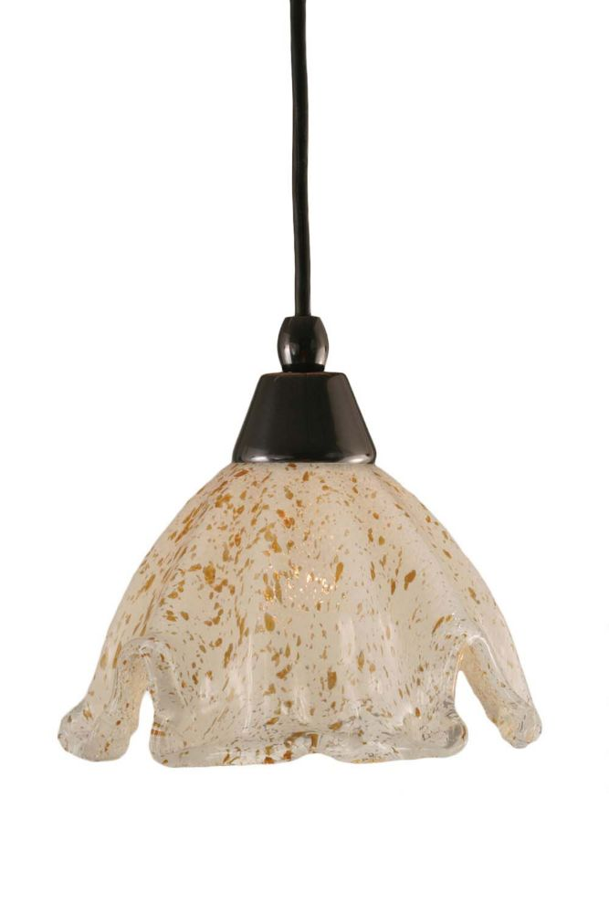 Concord 1-Light Ceiling Black Copper Pendant with a Gold Crystal Glass