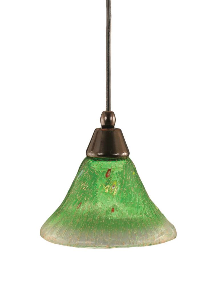 Concord 1 Light Ceiling Black Copper Incandescent Pendant with a Green Crystal Glass