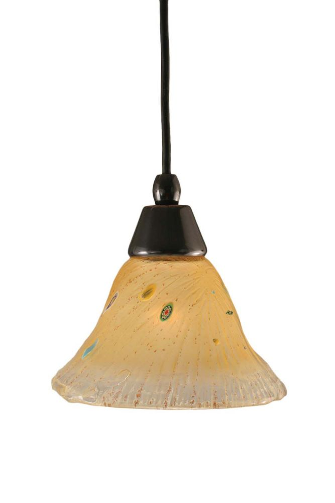 Concord 1-Light Ceiling Black Copper Pendant with an Amber Glass