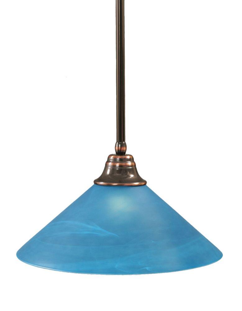 Concord 1 lumière au plafond Noir Copper Pendeloque à incandescence avec un bleu italien verre