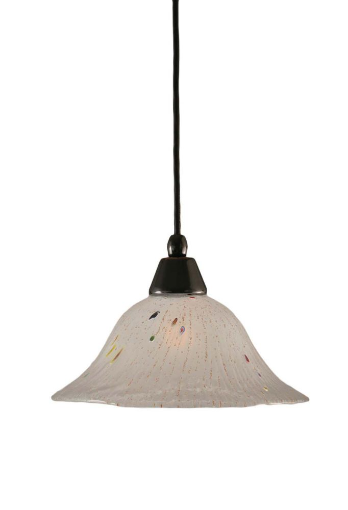 Concord 1-Light Ceiling Black Copper Pendant with a Frosted Crystal Glass