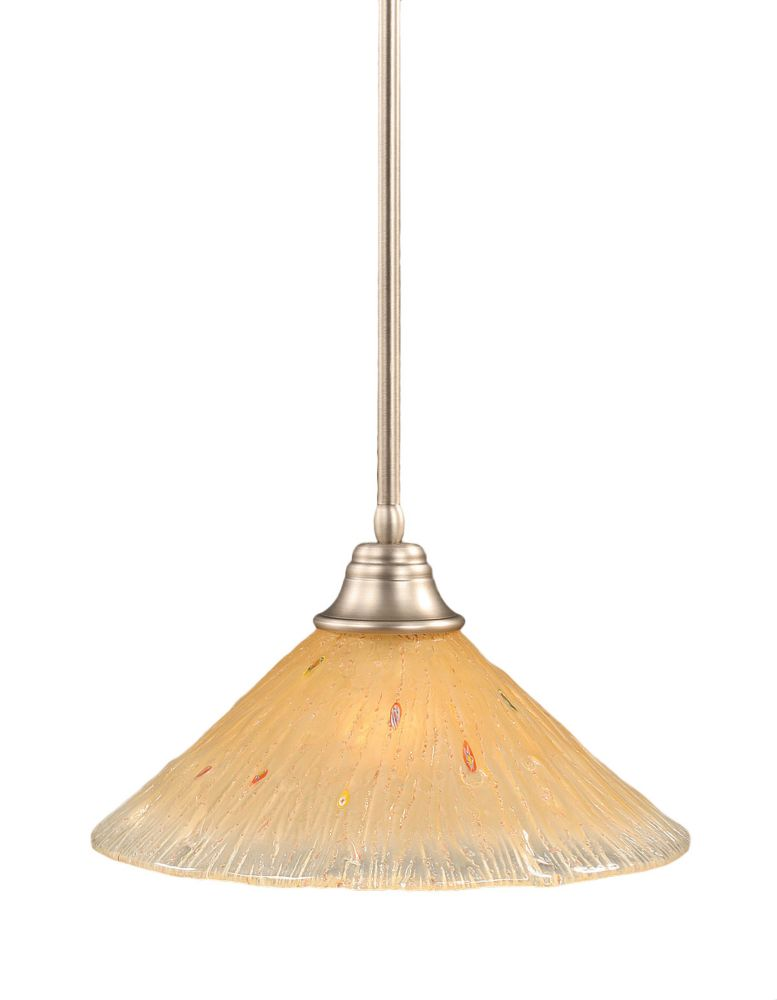 Concord 1 Light Ceiling Brushed Nickel Incandescent Pendant with an Amber Glass