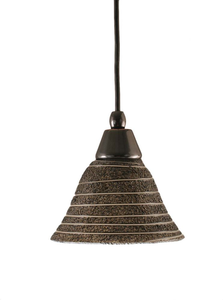 Concord 1-Light Ceiling Black Copper Pendant with a Charcoal Spiral Glass