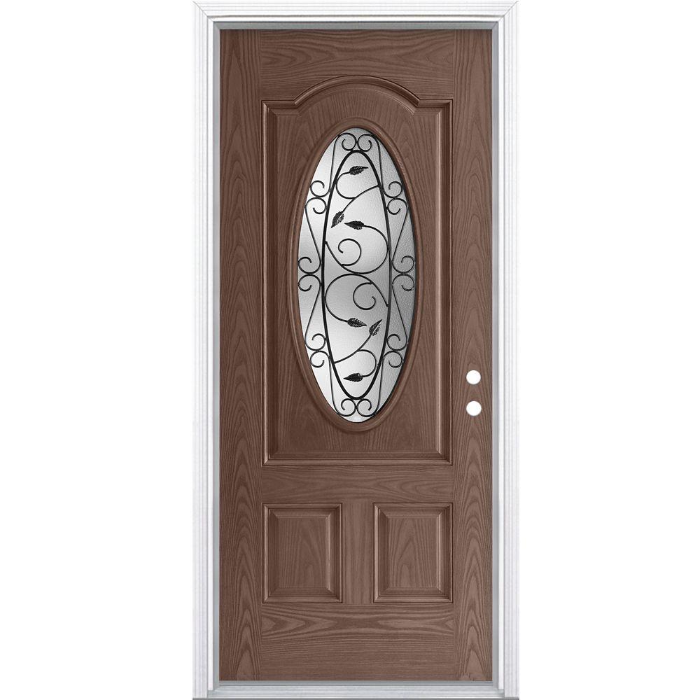 32-inch x 4 9/16-inch 3/4-Oval Pergola Fibreglass Caramel Left Hand Door