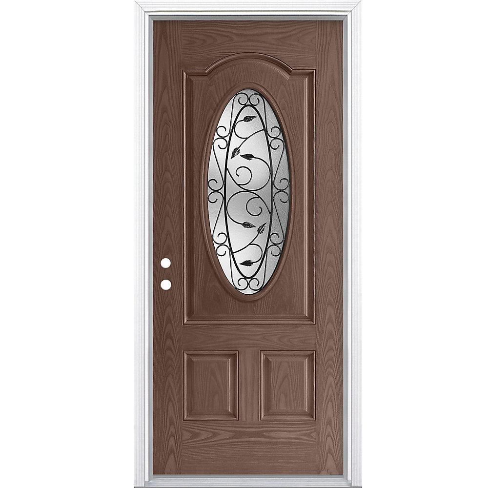 34-inch x 4 9/16-inch 3/4-Oval Pergola Fibreglass Caramel Right Hand Door