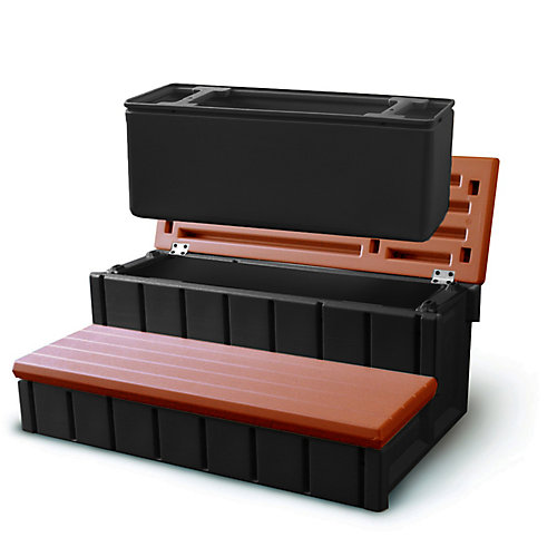 Spa Step With Storage in Redwood