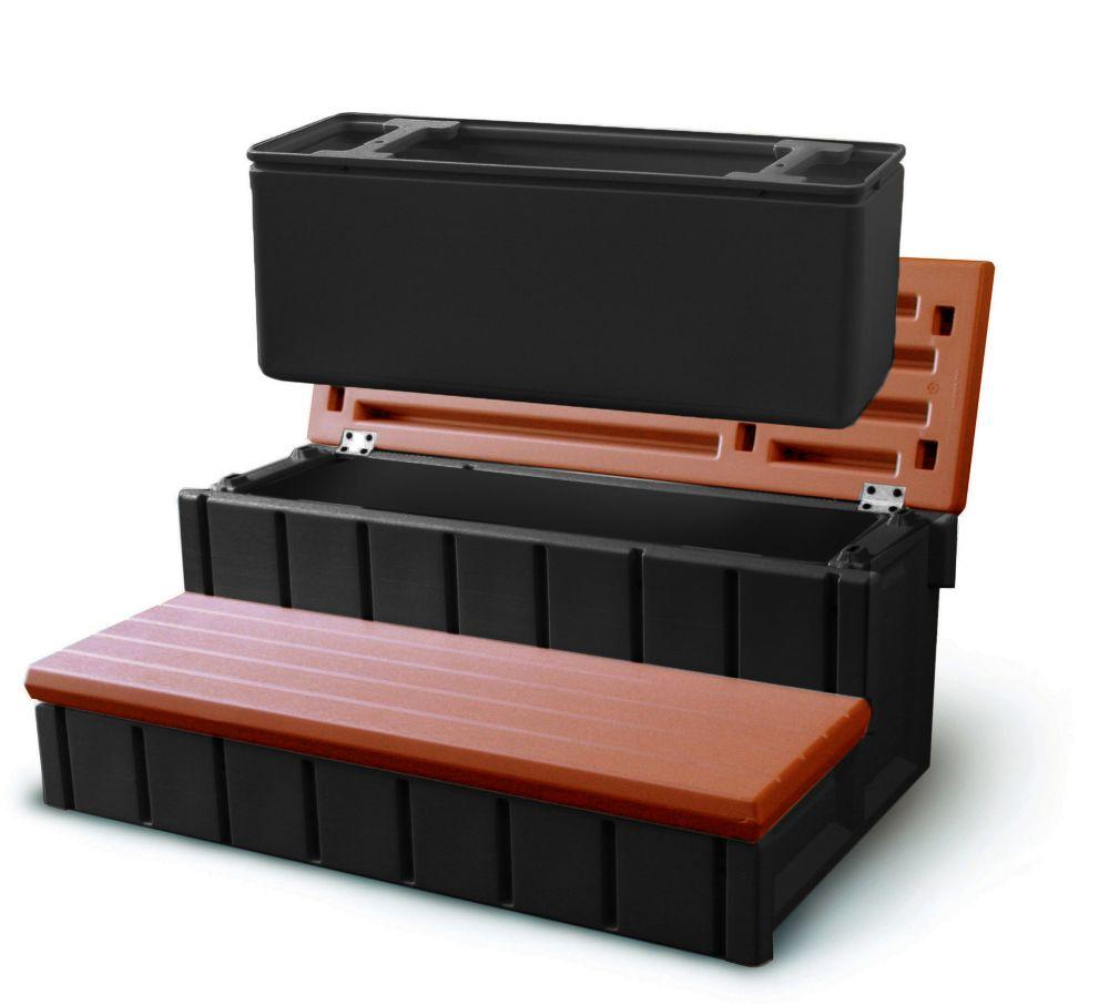 Escalier pour spa avec espace d'entreposage intégré - couleur séquoia