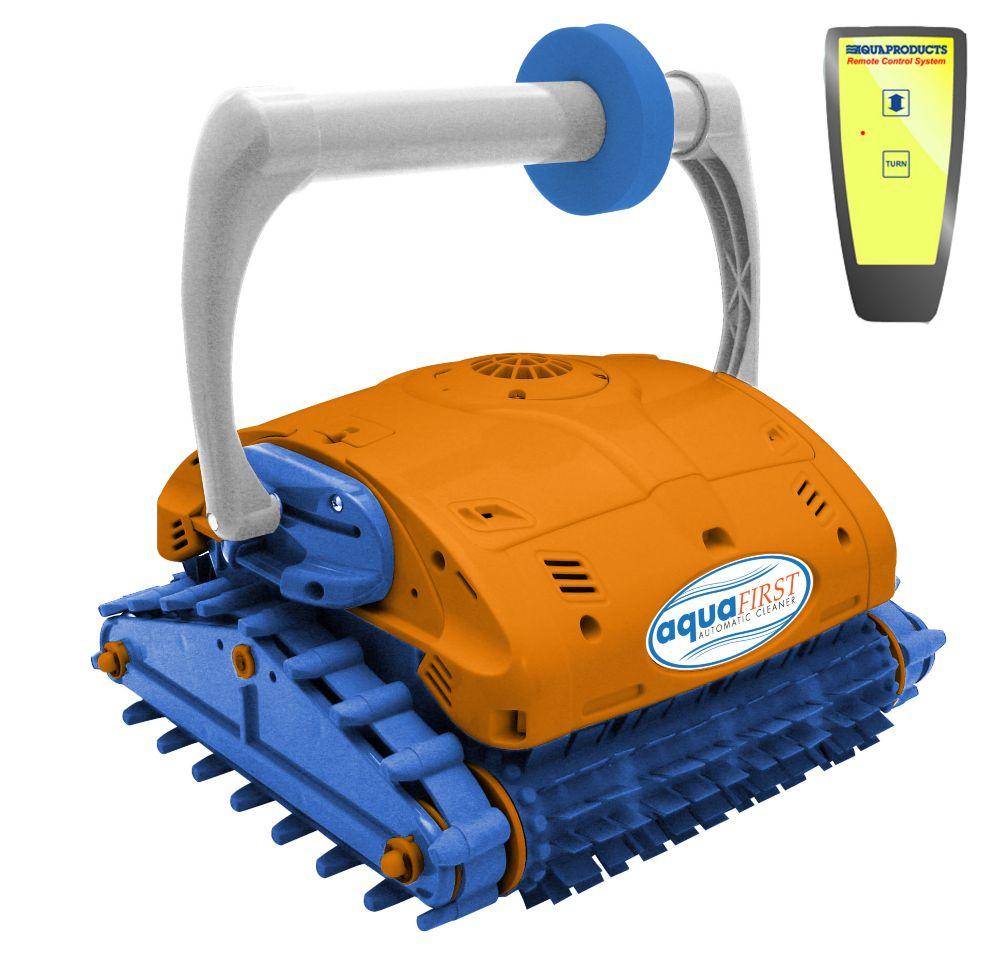 Nettoyeur robotisé Aquafirst Turbo escaladeur de parois avec télécommande pour piscines creusées