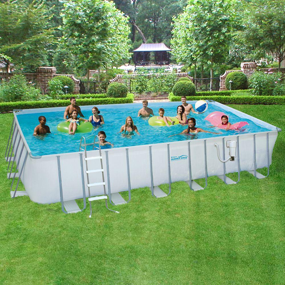 Ensemble de piscine à cadre métallique 3,66m (12 pi) x 7,32m (24 pi) rectangulaire x 1,32m (52 po...