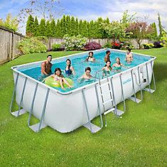 9 ft. x 18 ft. Rectangular 52-inch Deep Metal Frame Swimming Above Ground Pool