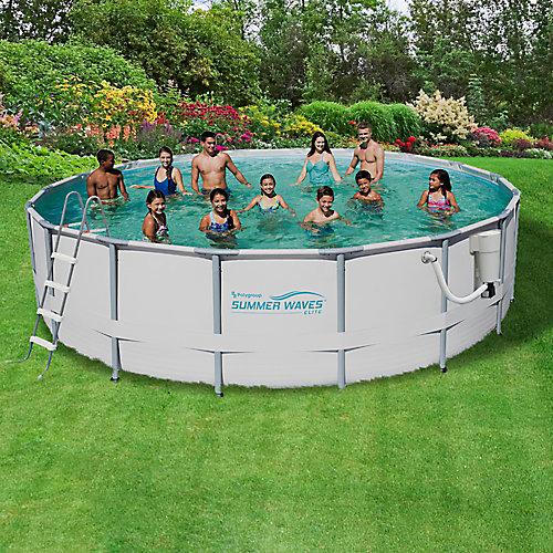 Ensemble de piscine à cadre métallique 5,49m (18 pi) de circonférence x 1,32m (52 po) de profondeur