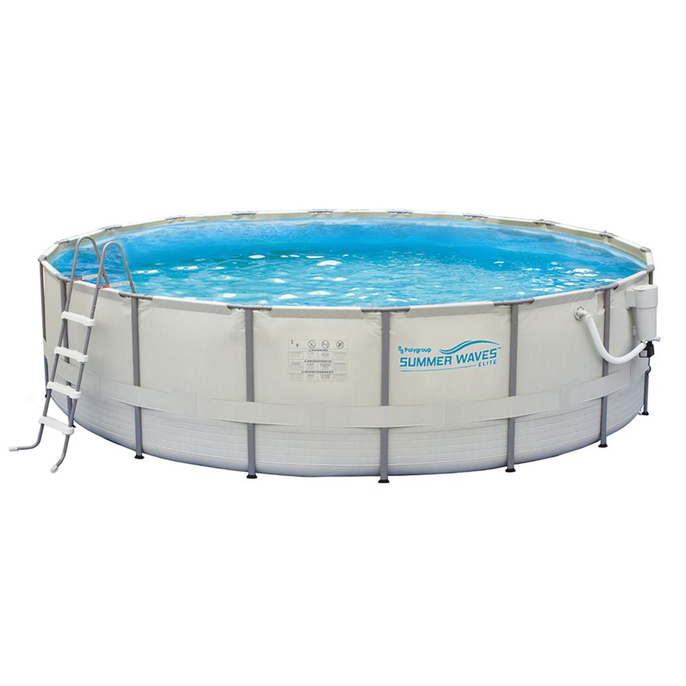 Polygroup proseries 15 ft dia x 48 inch deep round above ground pool with metal frame the for Round swimming pools above ground