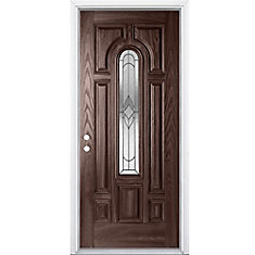32-inch x 4 9/16-inch Oxney Centre Arch Fibreglass Right Handed Entry Door in Merlot
